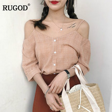 RUGOD 2018 New Arrival Casual Women Blouse Spring Summer Hot Sale Slash neck Red Female Tops Sexy Half Sleeve blusa feminina(China)