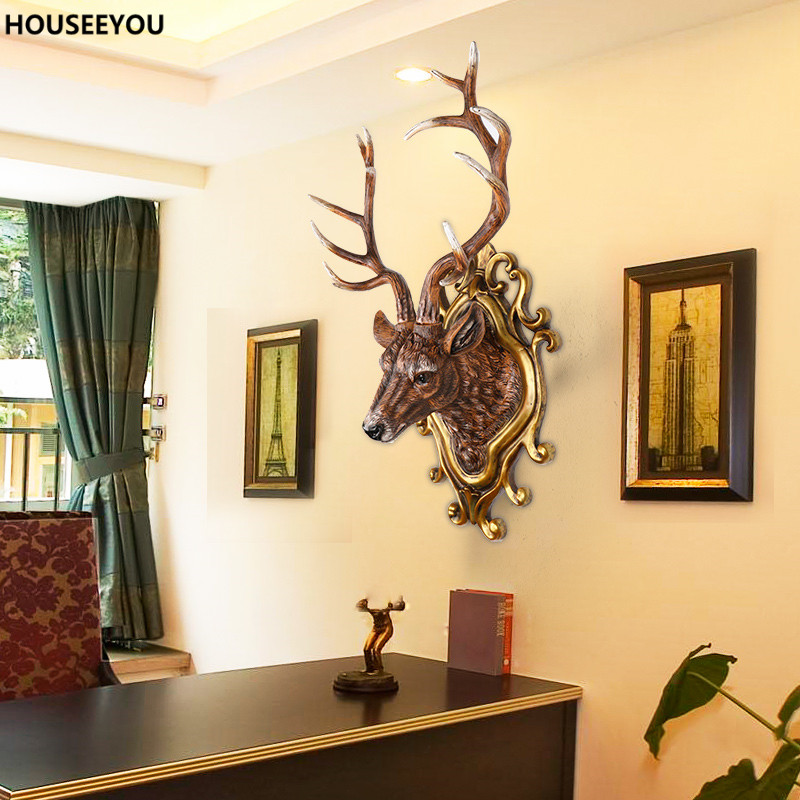 Deer Wall Statues Sculptures Decoration Crafts Retro Animal Head .