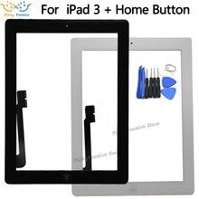 לוח מגע מסך עבור iPad 3 iPad3 A1416 A1430 A1403 Digitizer זכוכית פנל 9.7 inch עם לחצן בית + מתנה