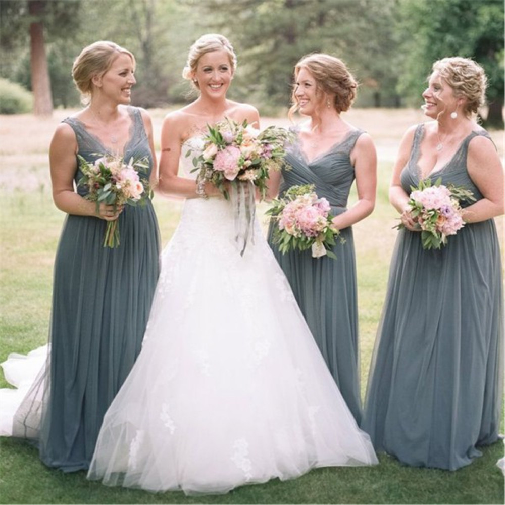 New Grey Tulle A Line   Bridesmaid     Dresses   V Neck Floor Length Long Elegant Wedding Party Gown Cheap Maid Of Honor   Dress