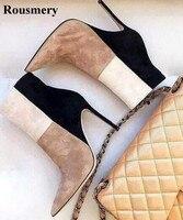 Для женщин Демисезонный новые модные женские туфли острый носок в стиле пэчворк Цвет полусапожки на высоком каблуке Сапоги и ботинки для де