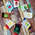 5 par/lote marea marca de moda creativa frutas patrones rayas calcetines femeninos calcetines de algodón para las mujeres lindo apple sandía ws0057