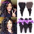Brazilian Loose Wave 3 Bundles With Lace Closure Cheap Brazilian Virgin Hair With Closure Loose Wave Human Hair Closure Deals