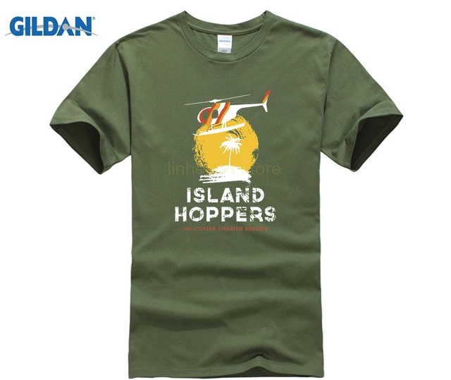 ecae93d8e 9100w TC's Island Hoppers T-Shirt Magnum PI Helicopter Hawaii Military  Printed Round Men T Shirt Cheap Price Top Tee