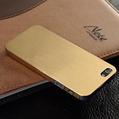 New Ultra Thin Brush Metal Aluminum Case Cover Back For IPhone 5 5S Gold Silver And