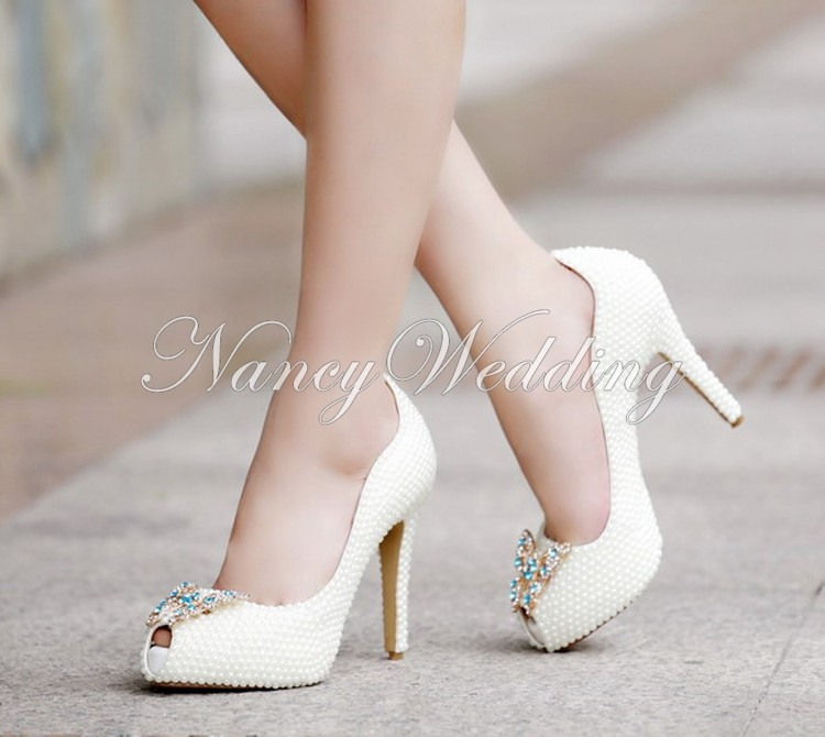 Peep Toe Ivory Shoes 013