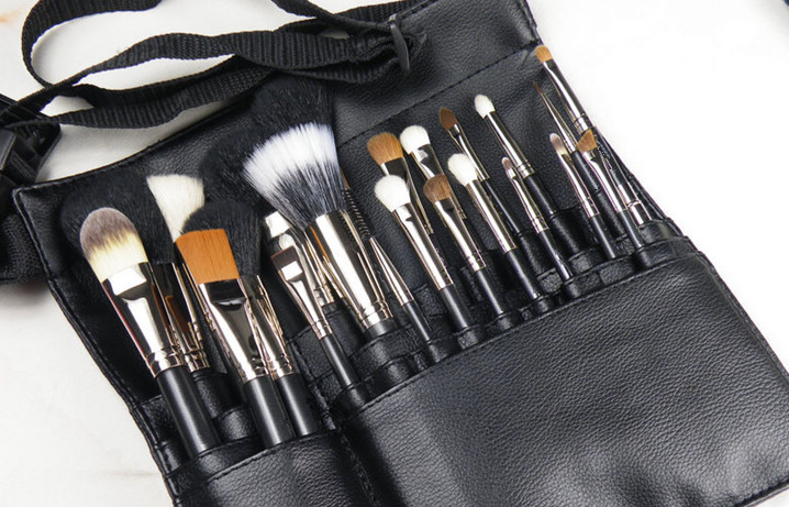 Sinso Women Professional Makeup Brush Bag 22 Pockets Pu Leather Cosmetic Brush Bag Apron With Artist Belt Strap Organizer Makeup Tools & Accessories