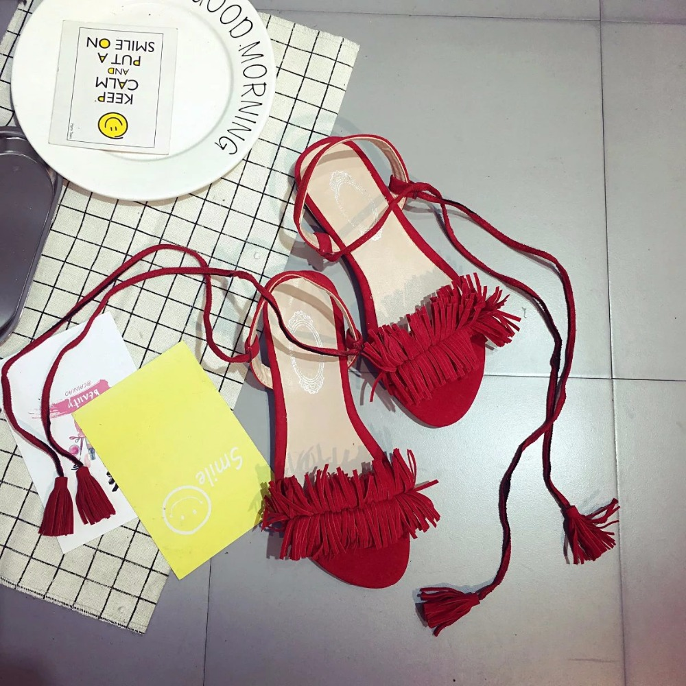 f3df3be45c690 ... Woman Summer Green 2018 40 Flat Black WFT 35 Sandals Red flops Straps  For Shoes Tassel ...