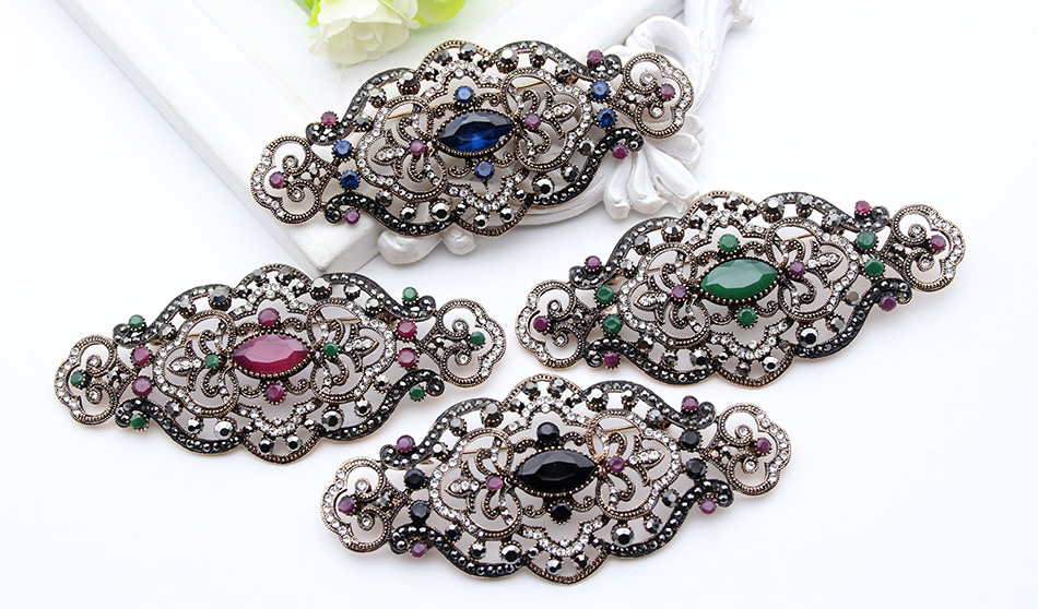 Vintage Morocco Antique Rhinestone Brooch Women Gold Color Flower Badge Crystal  Brooches Lapel Hijab Scarf Pins Jewelry Gift