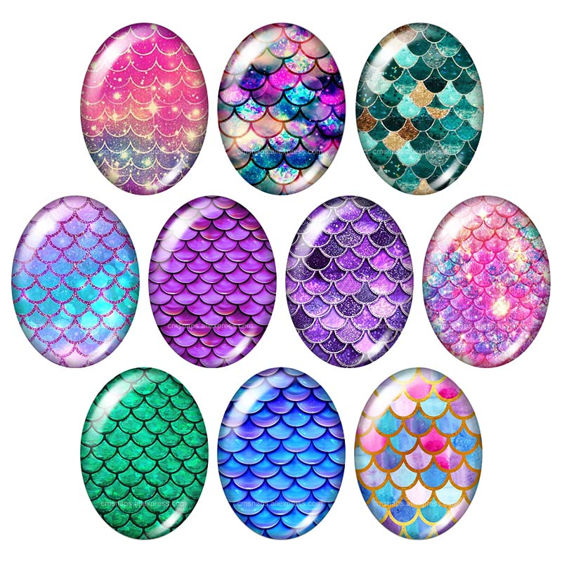 Beautiful Beauty Glitter Fish Scales Magical 10pcs 13x18mm/18x25mm/30x40mm Oval Photo Glass Cabochon Demo Flat Back Making Findings Tb0041 Jewelry Findings & Components