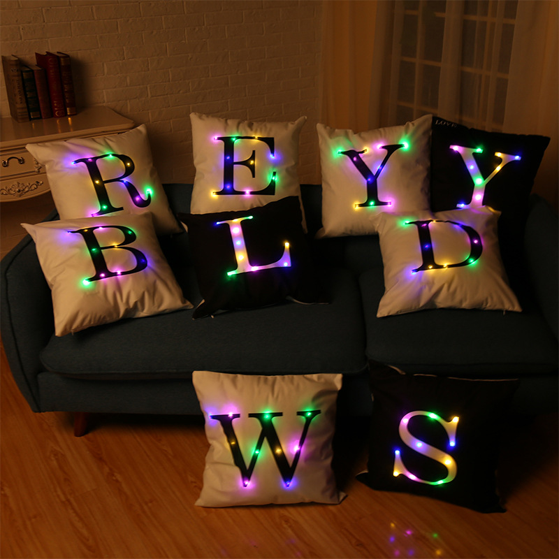 A To Z Letter Printed Led Glow Pillow Case Christmas Party Cushion Cover Nordic Decorative Sofa Cushions Throw Pillows Coussin