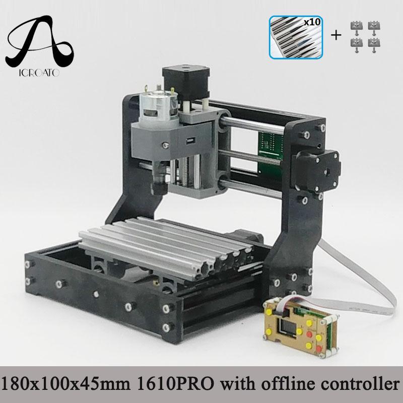 CNC 1610 PRO GRBL bricolage Mini CNC Machine avec carte de contrôle hors ligne, 3 axes Pcb fraiseuse, bois routeur zone de travail 16*10cm