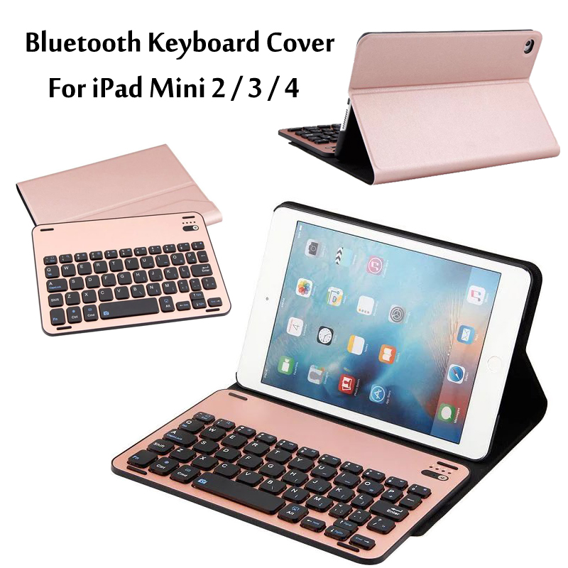 For iPad Mini 2 Mini 3 Mini 4 High-Quality Ultra thin Wireless Bluetooth Aluminum Keyboard Case cover For iPad Mini2/3/4 + Gift