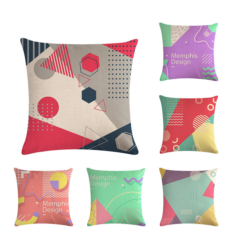 Us 2 8 25 Off Memphis Design Cushion Cover Linen Cotton Lovely Geometric Pattern Sofa Pillow Home Decor Case Zy502 In