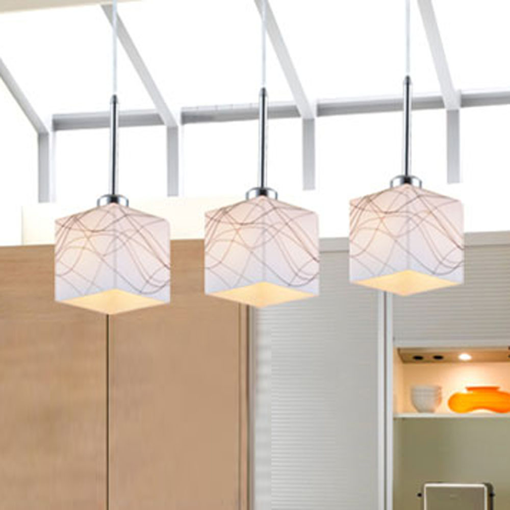 Mamei free shipping square glass lamp shade bar pendant lamps 3 lights dinning room light fixtures