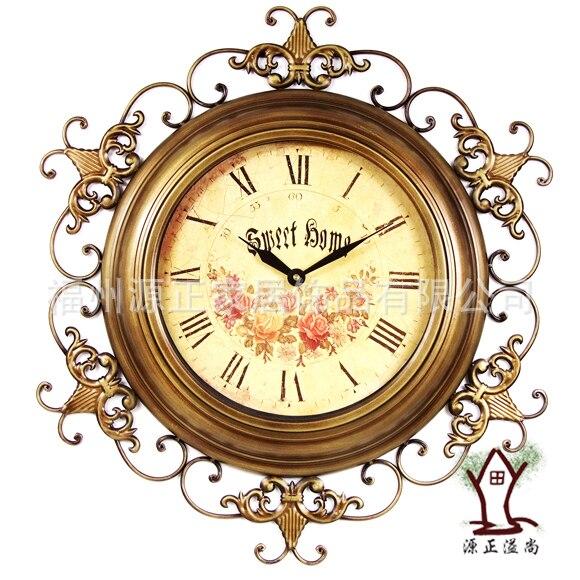 25 дюйм(ов) большой Настенные часы классический европейский Стиль Сад Кованые часы Ретро Античная Мода тихий часы Домашний Декор