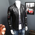 5XL-M Men Motorcycle Jacket Fashion 2016 New Stand Collar PU Leather Jacket For Men Stylish Print Windproof Slim Fit Mens Coats