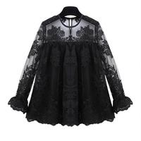 New Arrival 2015 Sexy Fashion Lace Shirt Hollow Out Lace Blouses See Through Floral Ladies Blouses