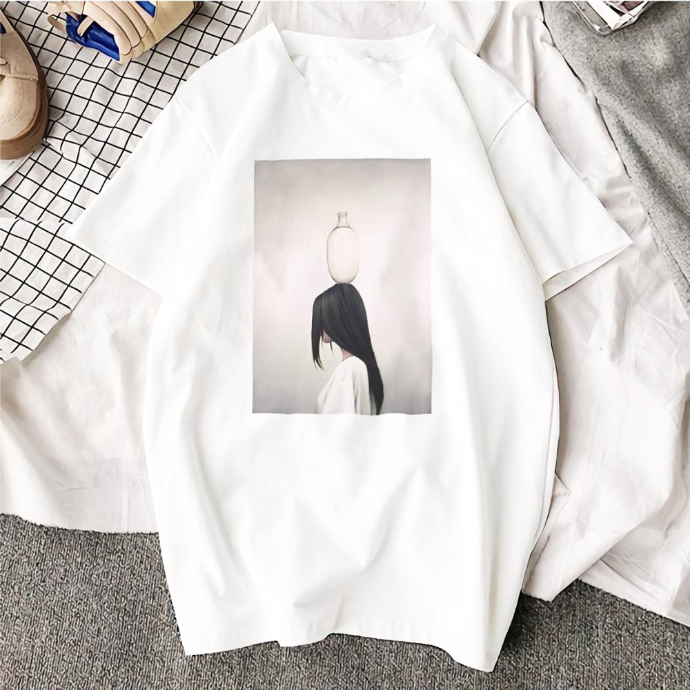 Ulzzang Aesthetic Funny Tshirt  Abstract Flowers Animal  Cotton O Neck T Shirt Plus Size Short Sleeve Brand Female T-Shirt Femme