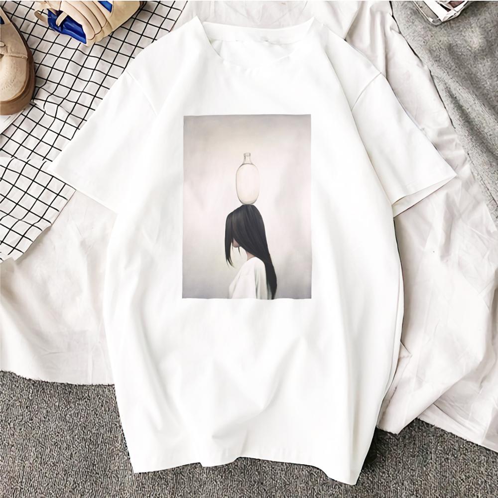 Женская футболка Ulzzang, хлопковая Футболка с круглым вырезом и абстрактными цветами, большие размеры