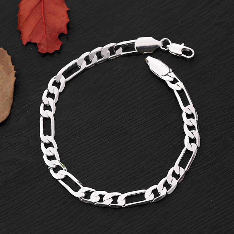 Modne modne bransoletki dla kobiet mężczyzn biżuteria 2018 Femme Homme Curb kubański Link Chain bransoletka Bangle Silver Gold kolorowa bransoletka