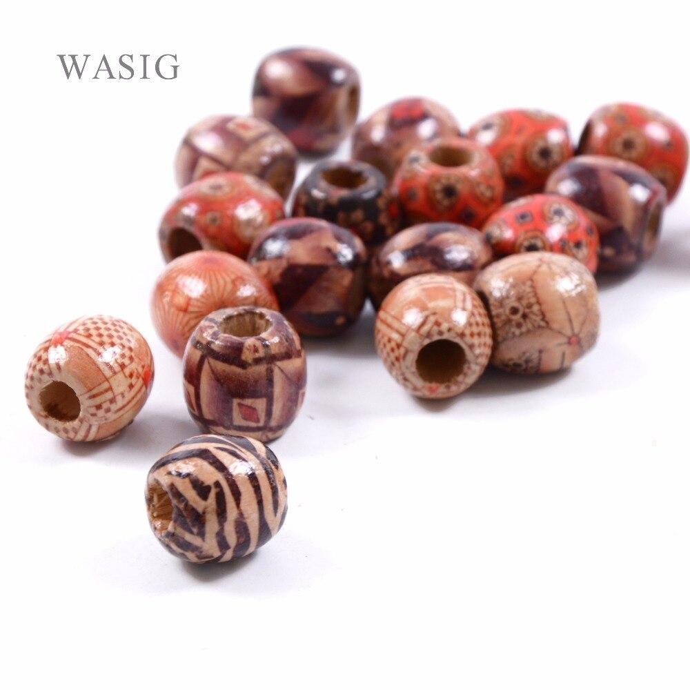 12Pcs Dreadlock Bead Wooden Hair Beads Braiding Big Hole Dreadlock Bead Ring Tubes For Braiding Hair Extension Accessories