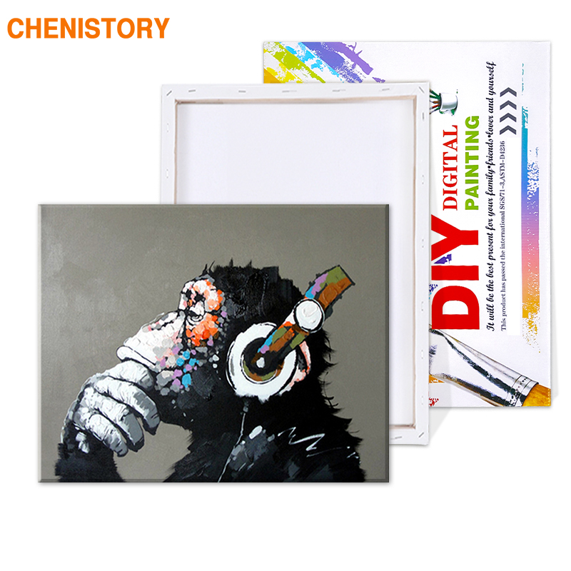 HTB1f0rtT9zqK1RjSZFjq6zlCFXaV CHENISTORY Abstract Monkey DIY Painting By Numbers Home Wall Art Picture Paint By Numbers Calligraphy Painting 40x50cm Artwork