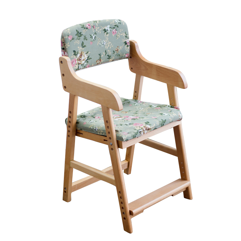 Kids Solid Wood Heightening Chair With Footrest Household Children Dining Chair Lifted Multifunction Stable Student Study Chair