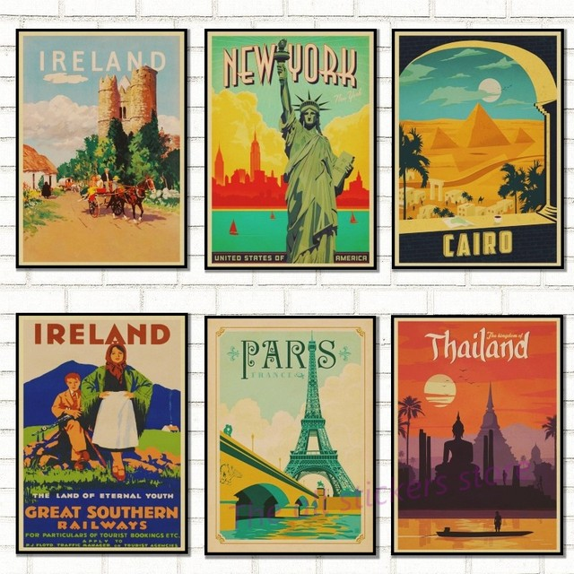 Paris Rome Lond0n Art Travel Poster Retro Kraft Travel Poster