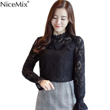 NiceMix 2019 Womens Tops And Blouses Elegant Lace Blusas Hollow Out Long Sleeve Loose Casual Blusa Femme