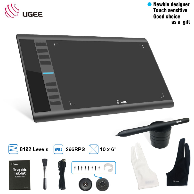 UGEE M708 Digital Graphics Tablet 10x6 inch Drawing Area Graphics Drawing tablet 8192 Pressure Better-free Stylus With Glove цена