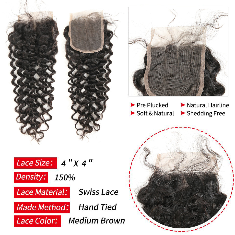 Brazilian Deep Wave Hair Weave 100% Human Hair Bundles With Closure - Mänskligt hår (svart) - Foto 3