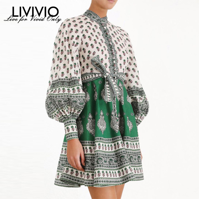 LIVIVIO Vintage Floral Print Long Puff Sleeve Lace Up Waisted Elegant Ladies Mini Dress 2019