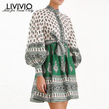 [LIVIVIO] Vintage Floral Print Long Puff Sleeve Lace Up Waisted Elegant Ladies Mini Dress 2019 Autumn Clothes for Women Korean(China)