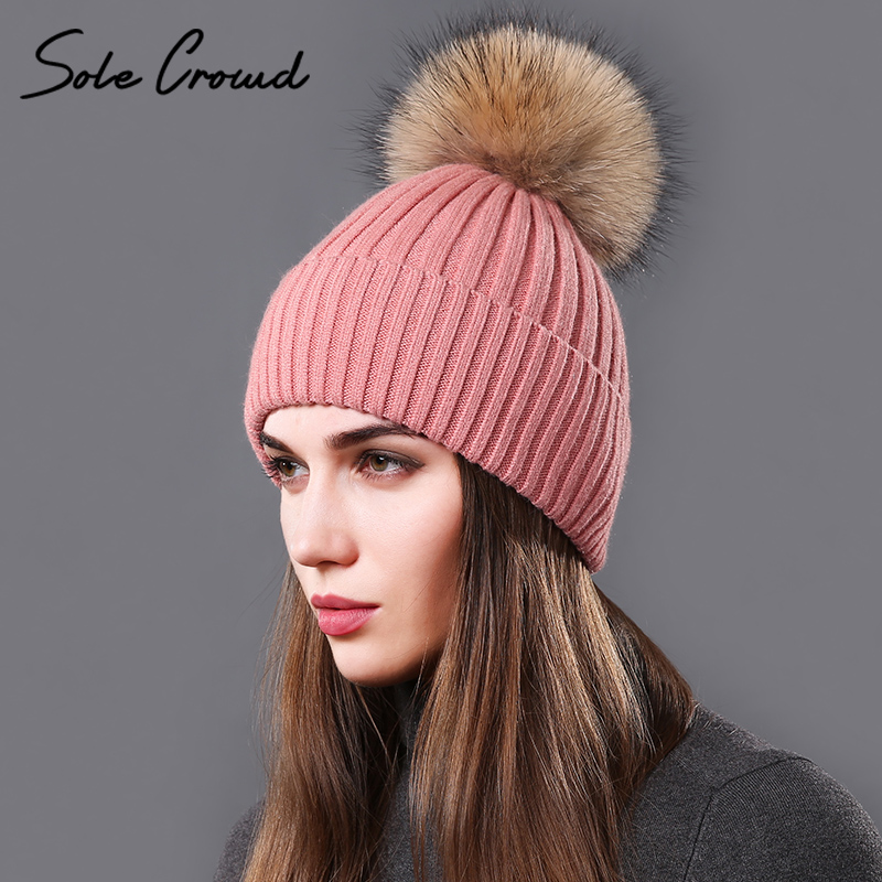 [Sole Crowd] Real natural raccoon fur pom poms hats for women autumn winter warm knitted caps girls beanies fashion female hat new star spring cotton baby hat for 6 months 2 years with fluffy raccoon fox fur pom poms touca kids caps for boys and girls