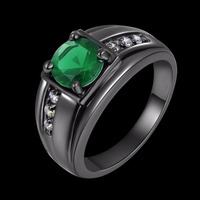 High Quality Fashion SUOHUAN Jewelry Unisex Black Rhodium Plated Green Stone Engagement Rings Gifts R057BGE