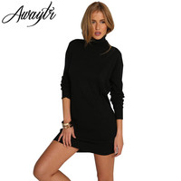 Awaytr Women Black Casual Slim Long Sleeve Pencil Dresses Autumn Winter Fashion Female Stand Collar Slipced