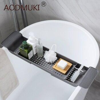 Bandeja de banho Banheira de armazenamento tubo de drenagem retrátil quadro fontes do banheiro de Toalha do banheiro Maquiagem Organizador De Cozinha De Plástico