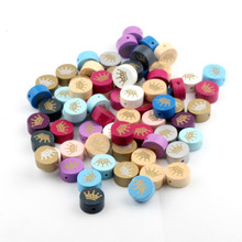 Handmade 15pcs Wooden Beads 20mm Mix Color Crown Pattern Wood Beads for Jewelry Making DIY Pacifier Clip lollipop Attachment