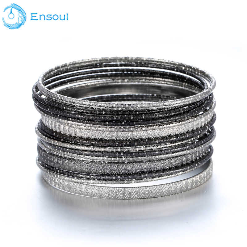 ENSOUL New Fashion Style 18 Pcs/Lot Charm Black Bracelets & Bangles For Women Luxury Brand Femme Jewelry Men Bracelet