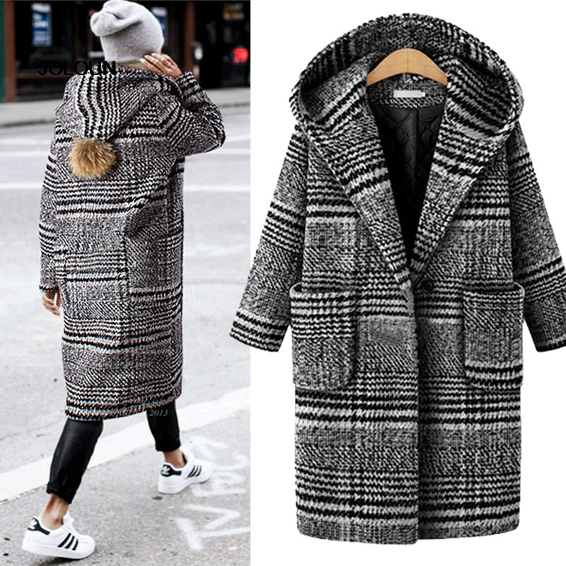 Puls Size Woman Plaid Coat Long Cardigans Female Hooded Winter Thicken Trench Coat Abrigos Mujer Elegante Manteau 5XL 4XL 3XL