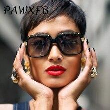 PAWXFB High quality Brand Designer Rivet Frame Oversized Square Sunglasses Women Men Shades Sun Glasses Luxury Eyeglasses