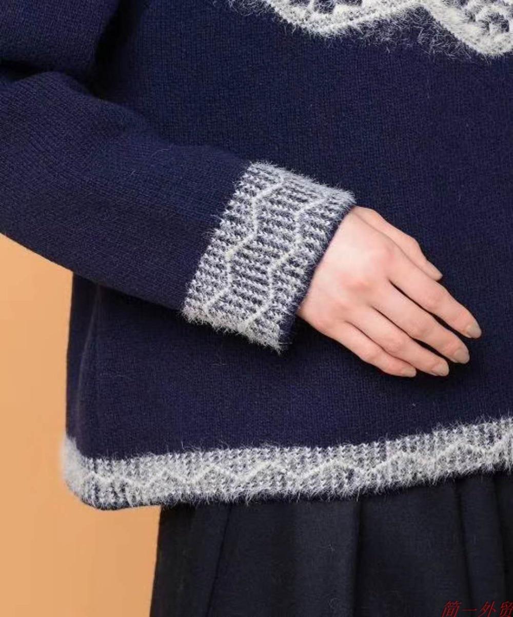 La Bleu Mori Vintage Femmes Taille Filles Chandails Hiver Pull blanc Japonais De Gris Plus Casual marine Lâche Automne Style Jacquard wPHXCxq7wY