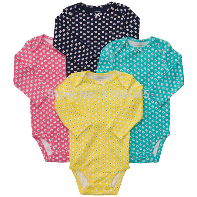 83be50904 L4-001, Original, Baby Girls Printed Bodysuits, 4-Piece per Pack, Long  Sleeve, Super Quality, Free Shipping
