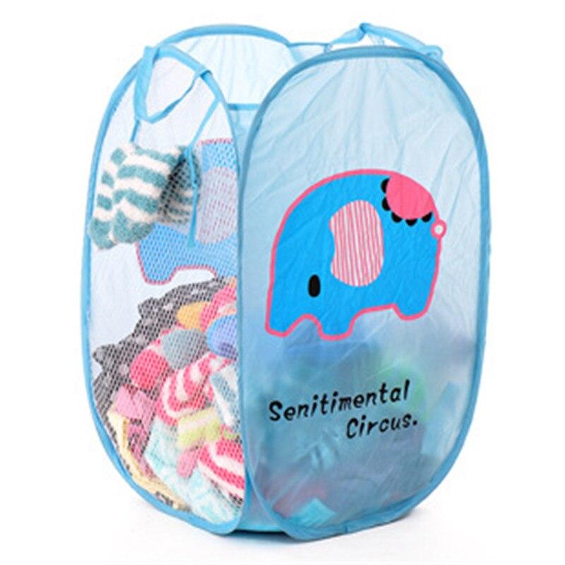Cartoon Hello Kitty Mesh Laundry Basket Storage Basket For Toy Washing Basket Dirty Clothes Sock  Sundries Basket Box Foldable