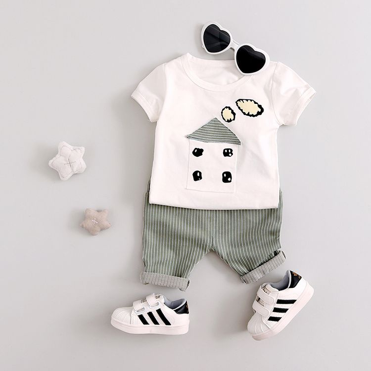 2017 Summer new fashion baby boys clothing set cotton with house pattern print baby boy clothes A039 2pcs set baby clothes set boy