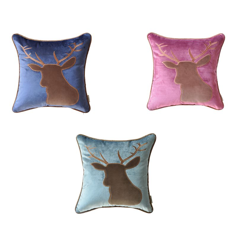 45x45CM American Classical Style Glitter Velvet Home Decorative Elk Deer Embroidered Applique Patch Pillow Case