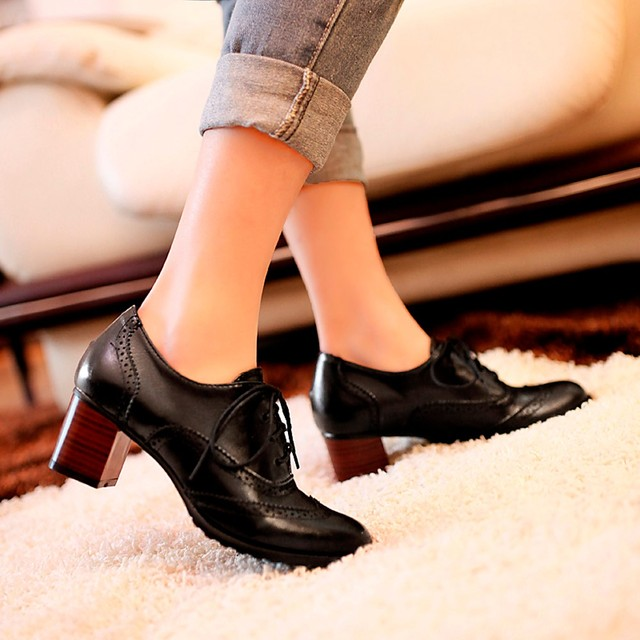 9179ff1aedf86 YOUYEDIAN Mode de Femmes Creux Chaussures Peu Profonde Bouche Chaussures  Simples Épais Talon Chaussures sapato feminino