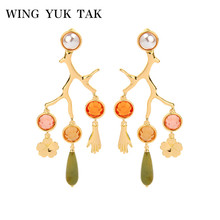 wing yuk tak Boho Colorful Statement Crystal Earrings For Women Vintage Tree Branch Hanging Accessories