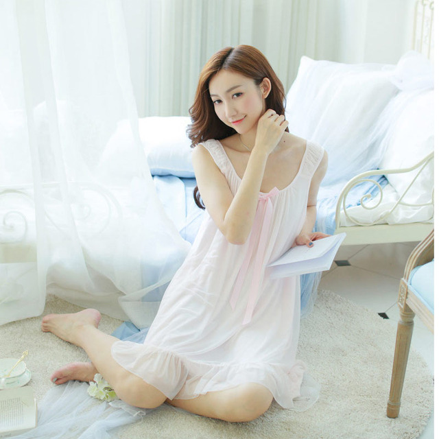 a30e80af3d 2016 new sweet vintage palace Camisole Nightgown lace princess pajamas  Summer Nightdress Lace Sleepwear Modal Nightshirt